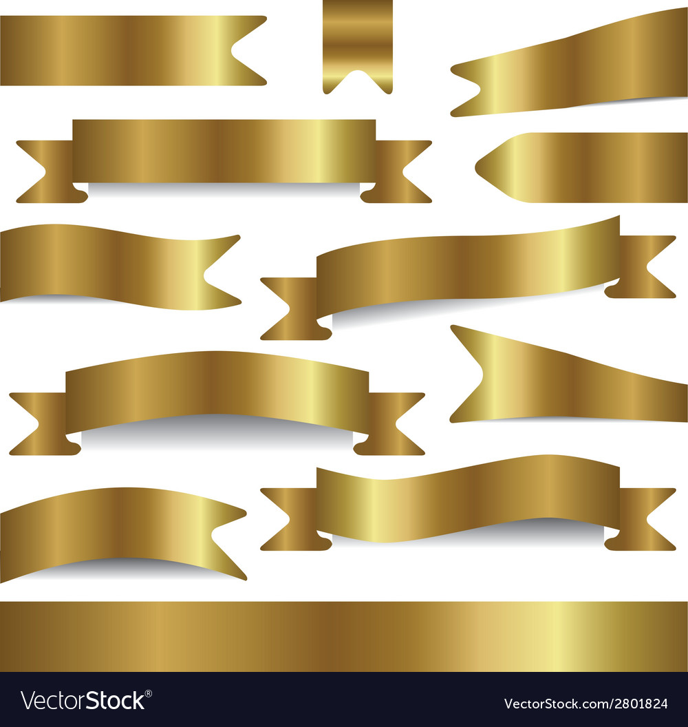 Set of gold ribbons vector | Price: 1 Credit (USD $1)