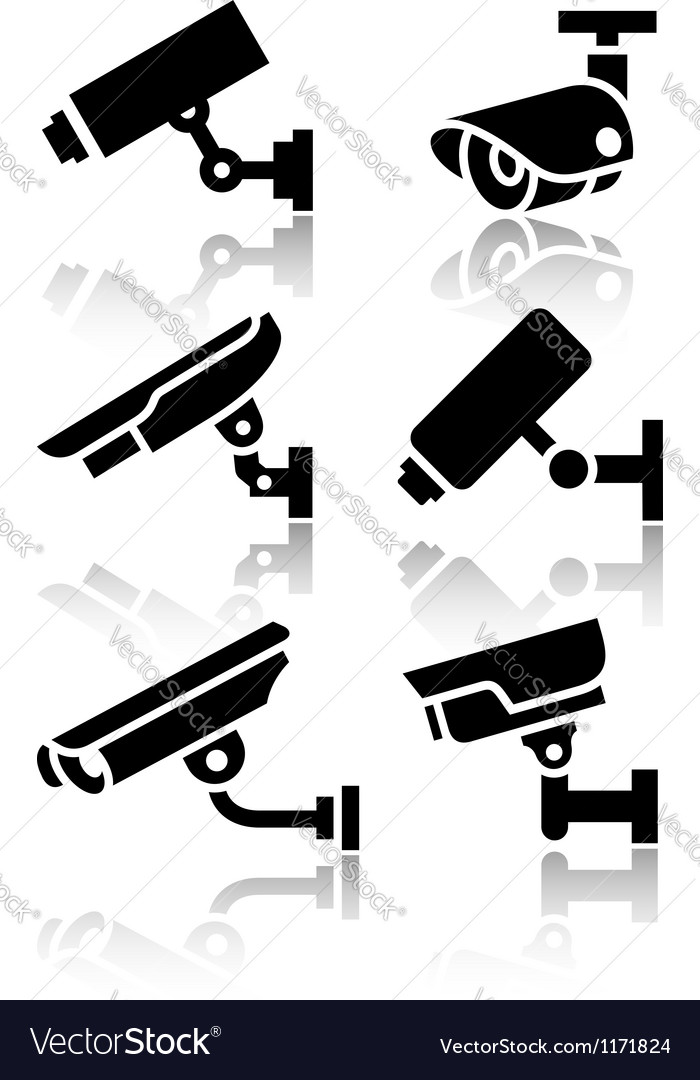 Video surveillance new big set stickers vector | Price: 1 Credit (USD $1)