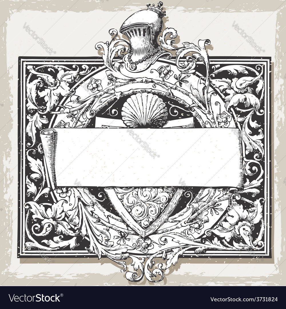 Vintage floral frame with elm and title block vector | Price: 3 Credit (USD $3)