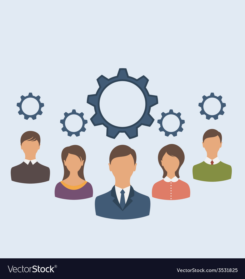 Business people with cogwheels business teamwork - vector | Price: 1 Credit (USD $1)