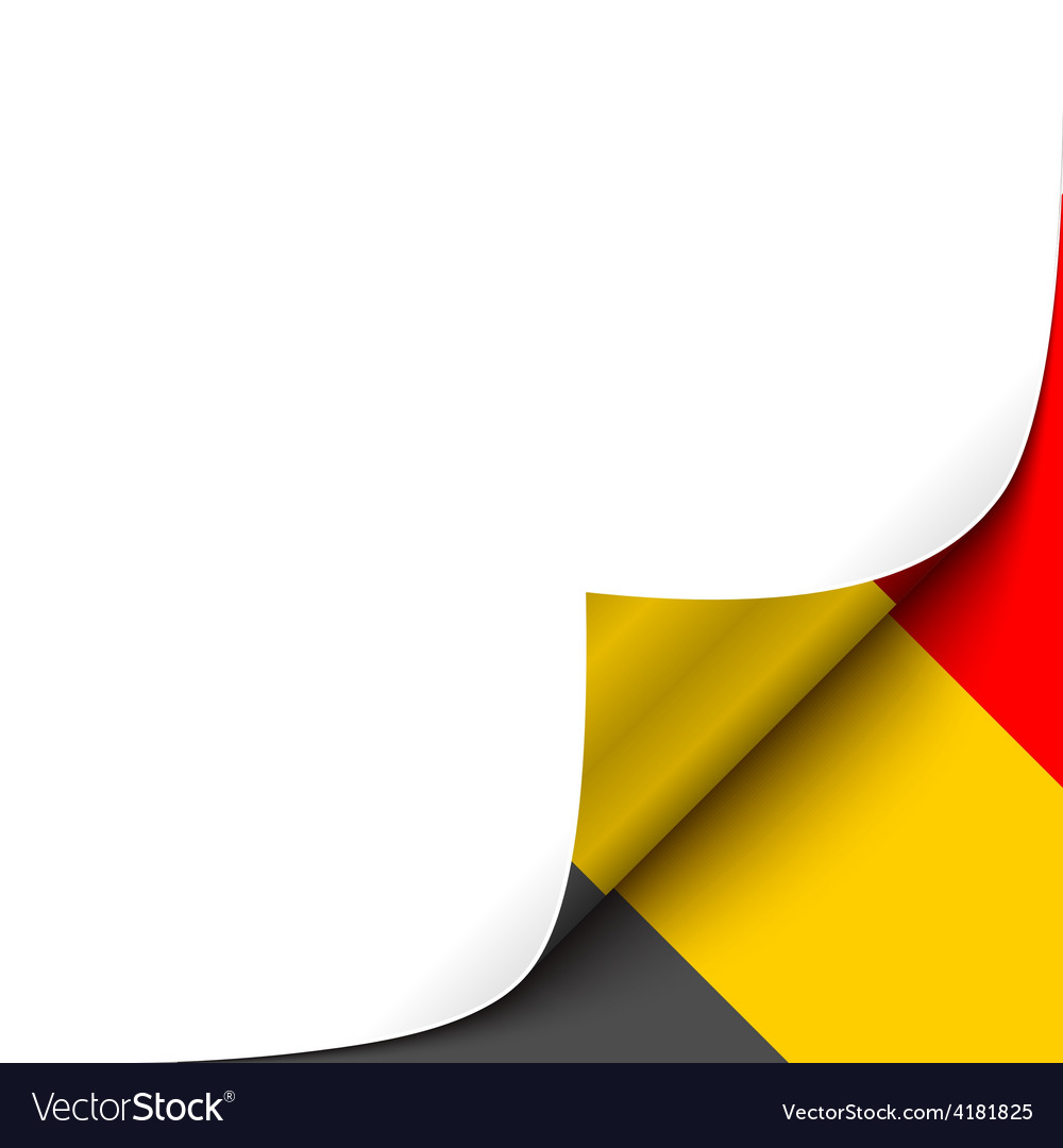 Curled up paper corner on belgian flag background vector | Price: 1 Credit (USD $1)