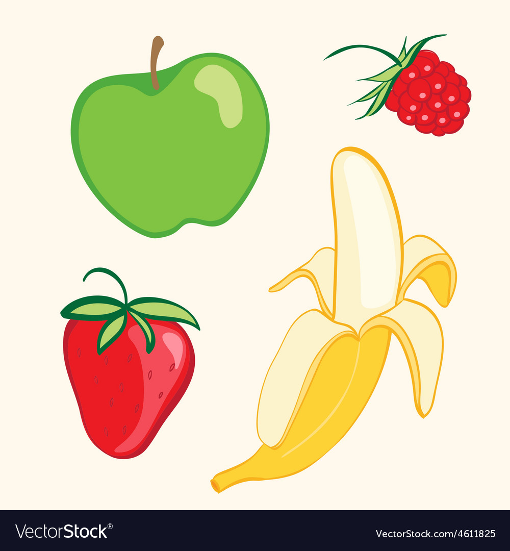 Fruit set banana strawberry apple vector | Price: 1 Credit (USD $1)