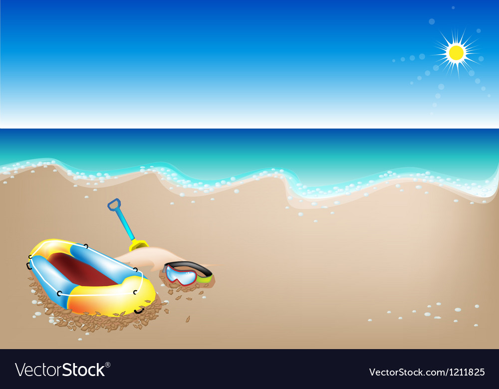 Inflatable boat and scuba mask vector | Price: 1 Credit (USD $1)