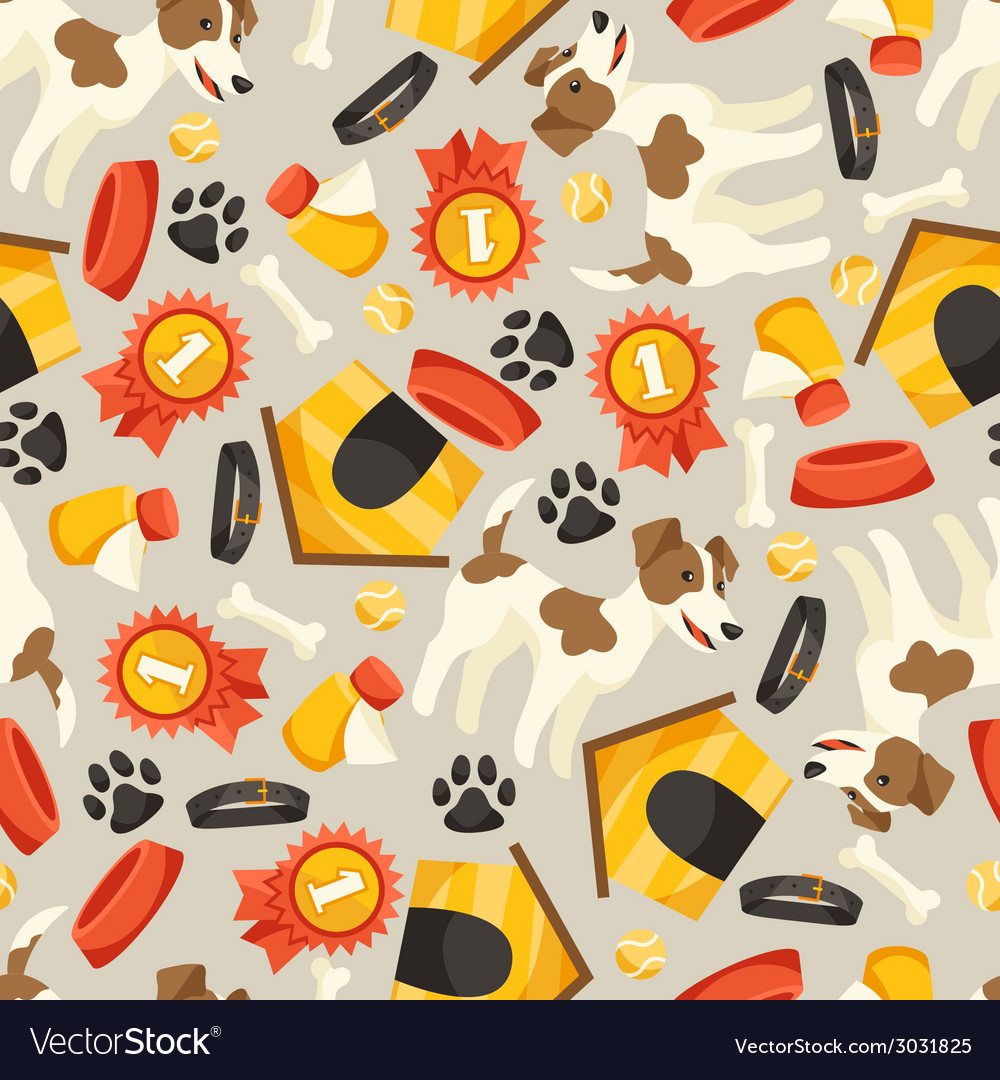 Seamless pattern with cute dogs icons and objects vector | Price: 1 Credit (USD $1)