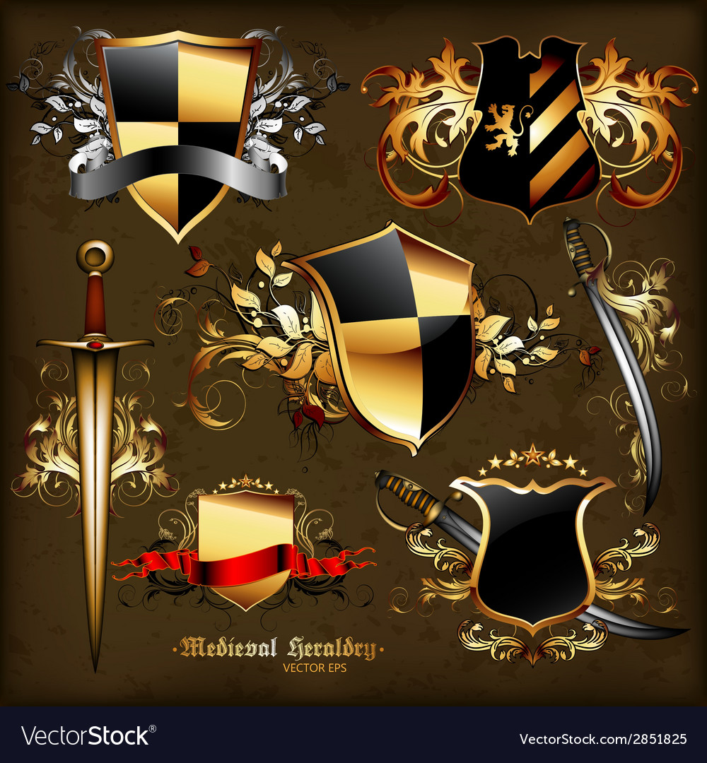 Set of medieval heraldry vector | Price: 1 Credit (USD $1)