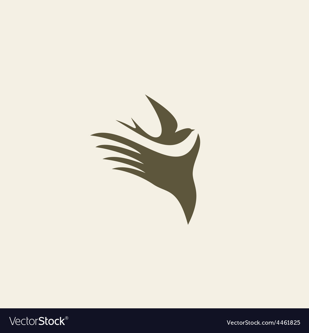 Silhouette swallow in human hands vector | Price: 1 Credit (USD $1)