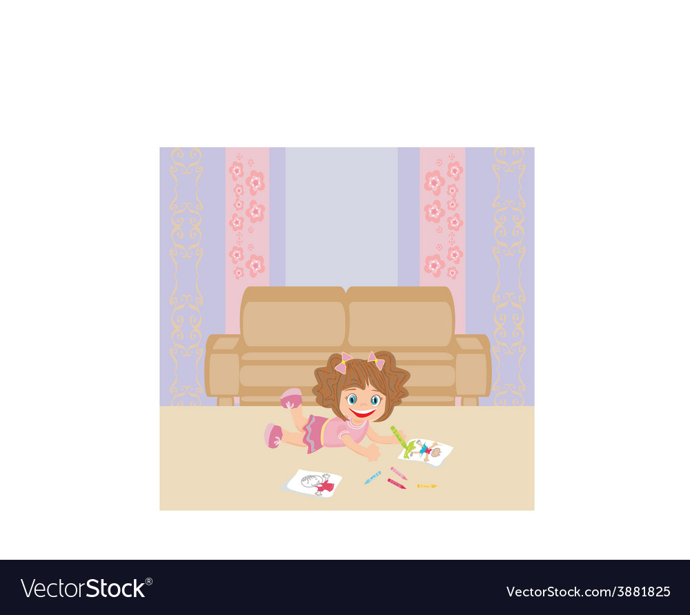 Sweet little girl drawing artwork with crayons vector | Price: 1 Credit (USD $1)
