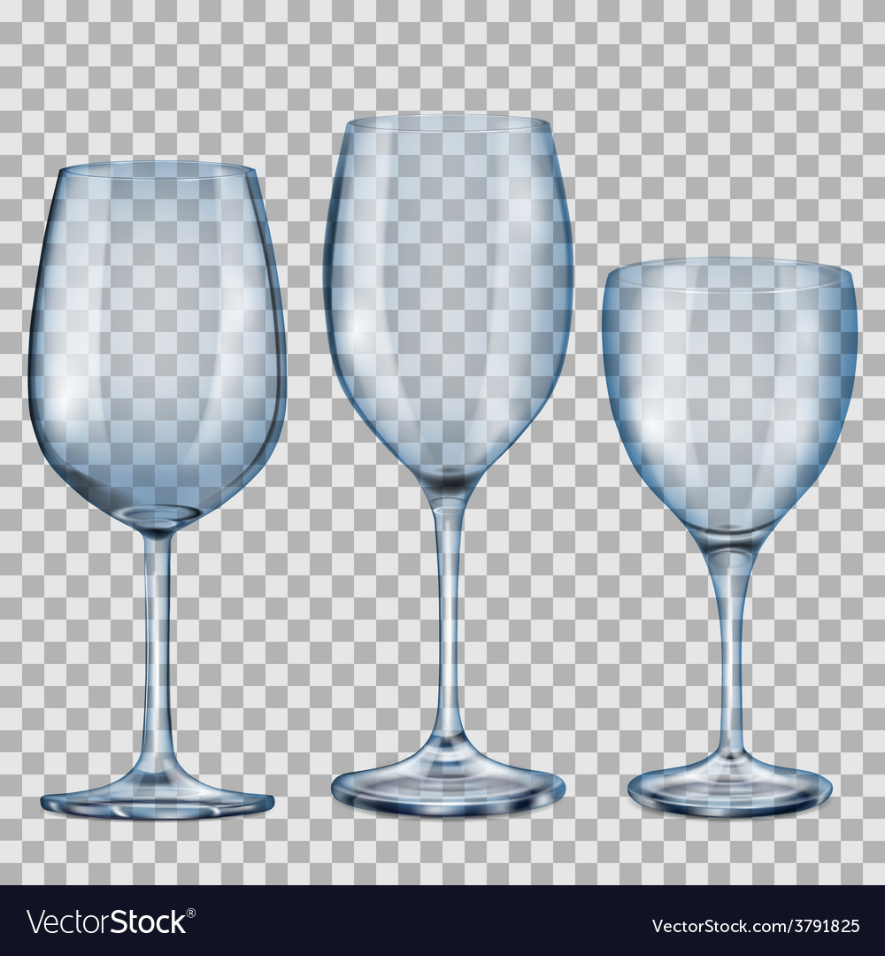 Transparent blue empty glass goblets for wine vector | Price: 1 Credit (USD $1)