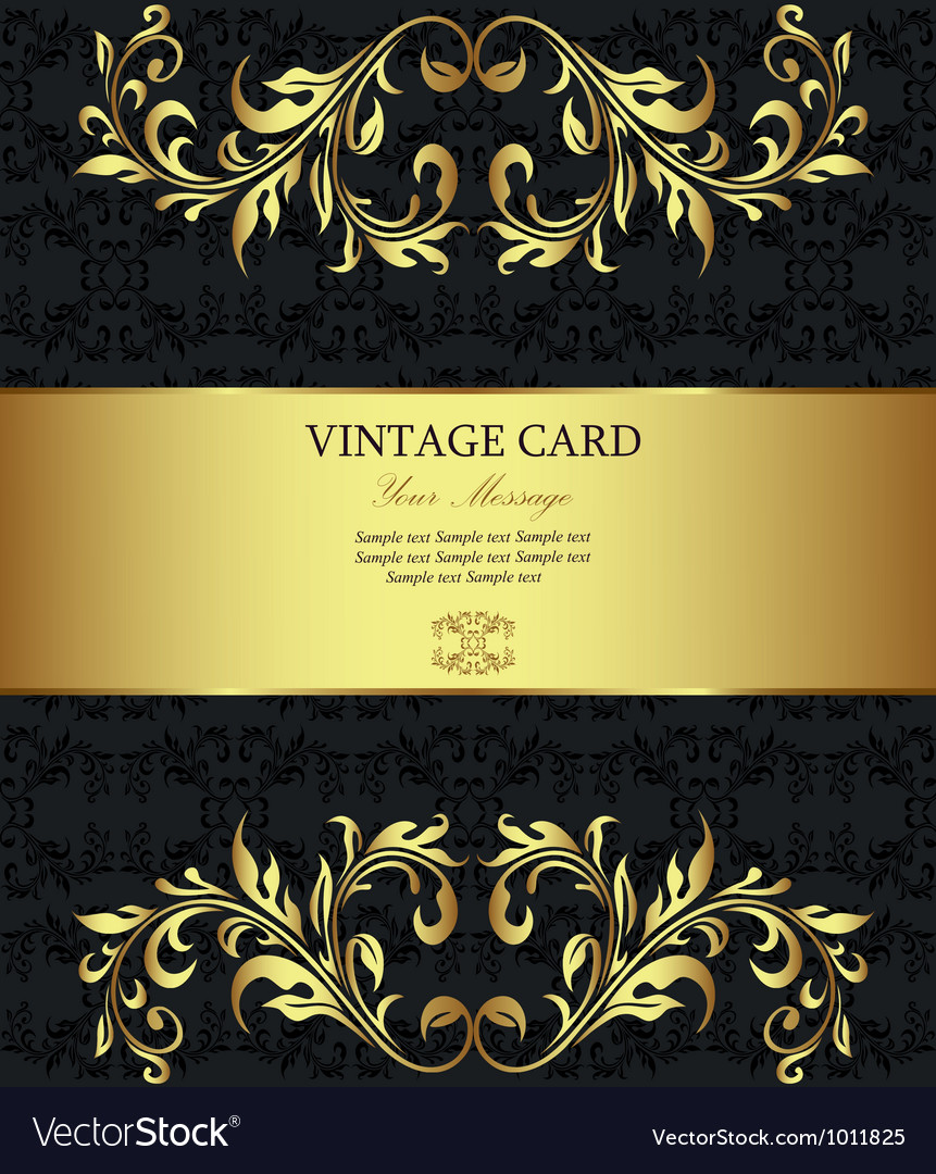 Vintage floral card template vector | Price: 1 Credit (USD $1)