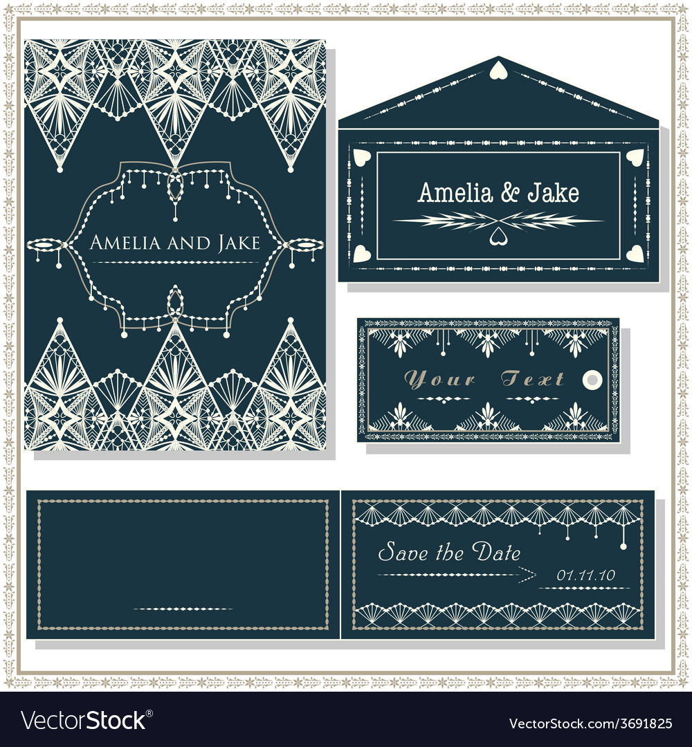 Wedding invitation cards tag and envelope wedding vector | Price: 1 Credit (USD $1)