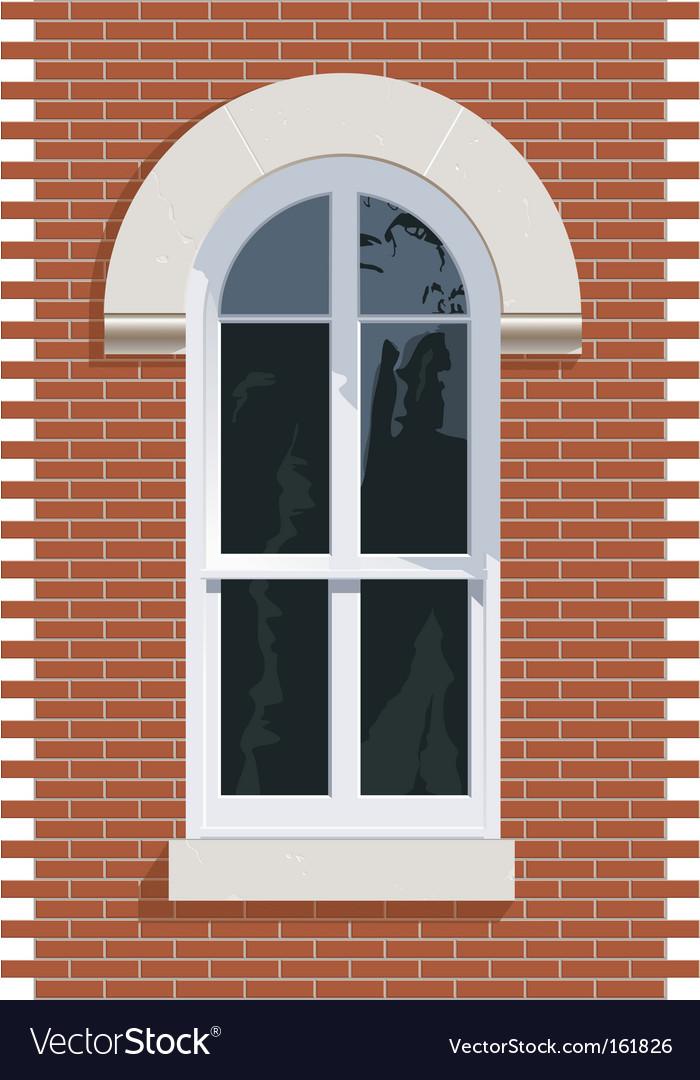 Brick wall window vector