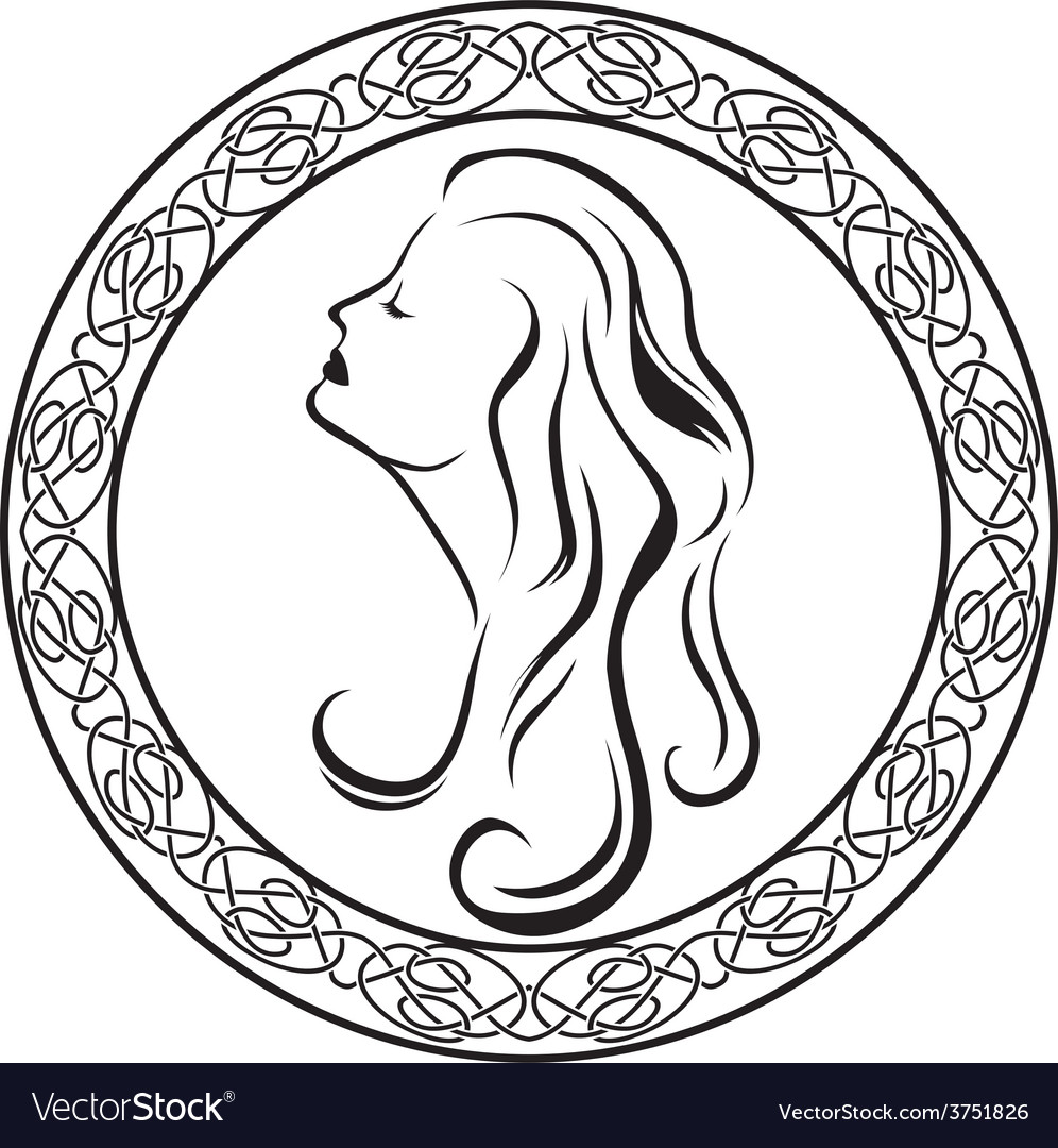 Girls profile in celtic circle vector | Price: 1 Credit (USD $1)