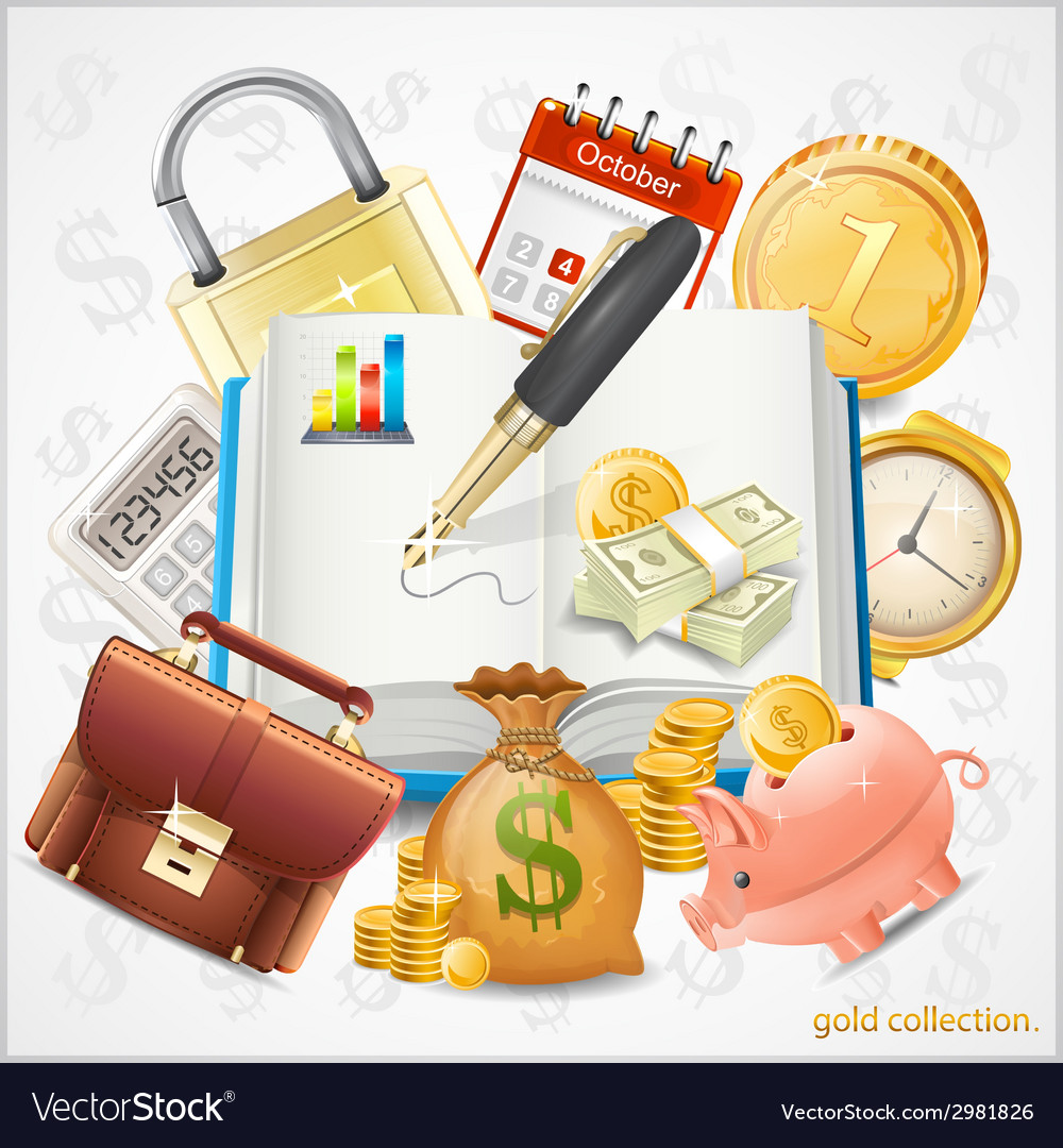 Items of business money gold coins vector | Price: 1 Credit (USD $1)