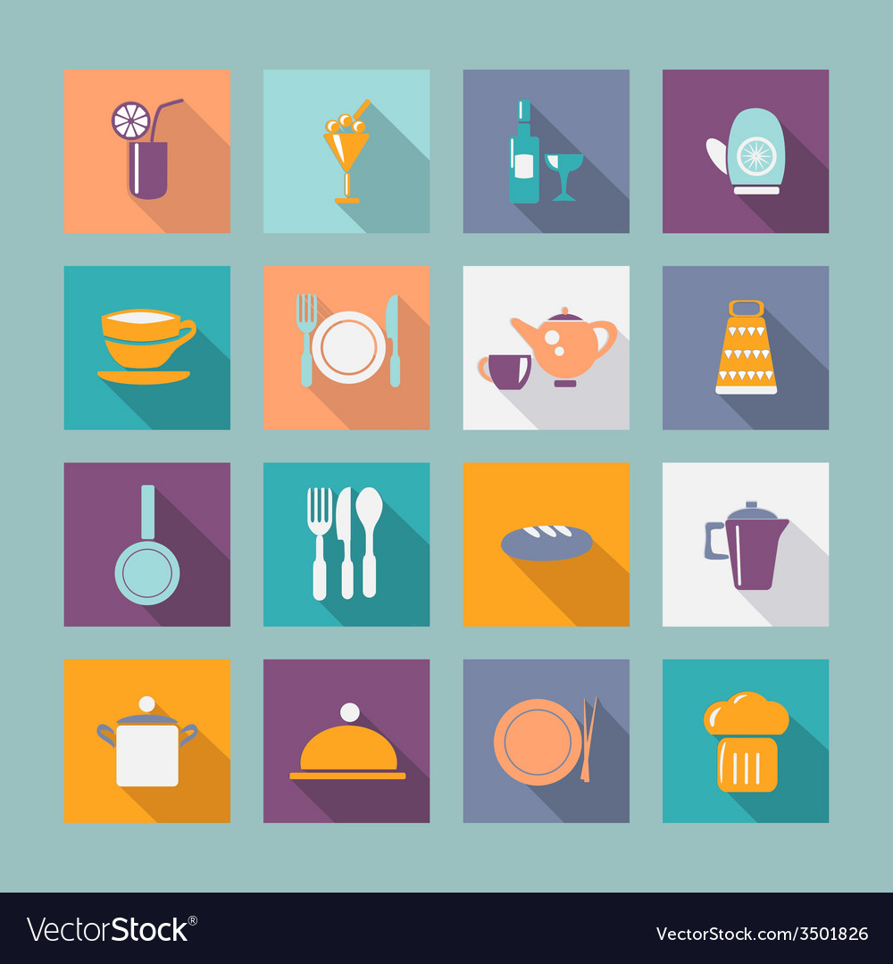 Kitchen ware flat icons food icons vector | Price: 1 Credit (USD $1)