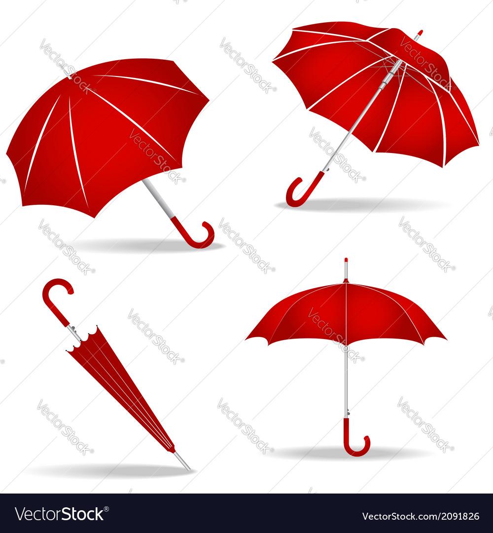 Red umbrellas set vector | Price: 1 Credit (USD $1)