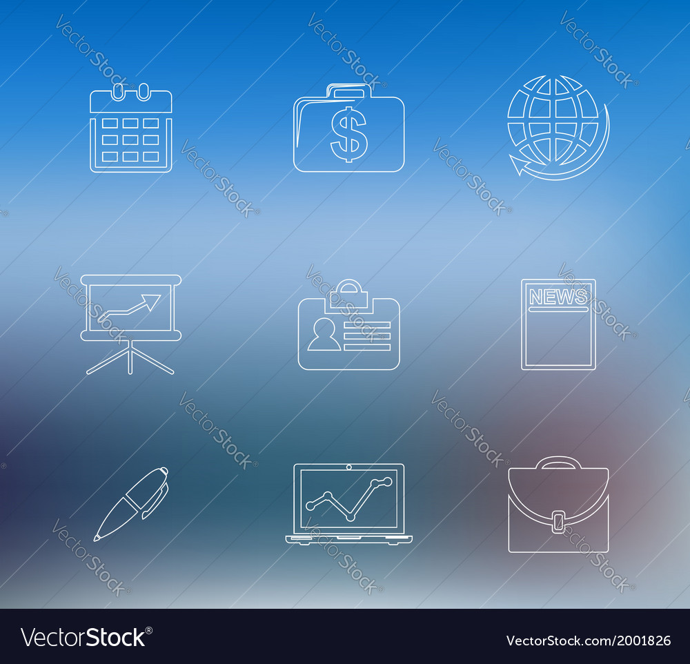 Set of business line icons vector | Price: 1 Credit (USD $1)