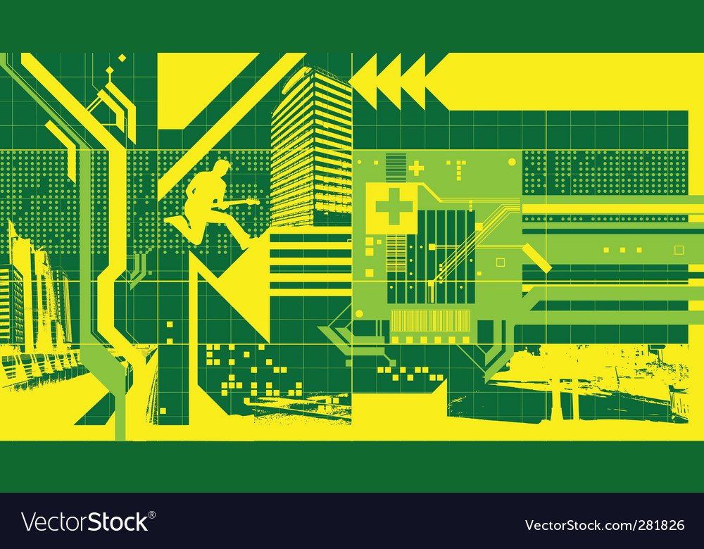 Technological guitar man vector | Price: 1 Credit (USD $1)