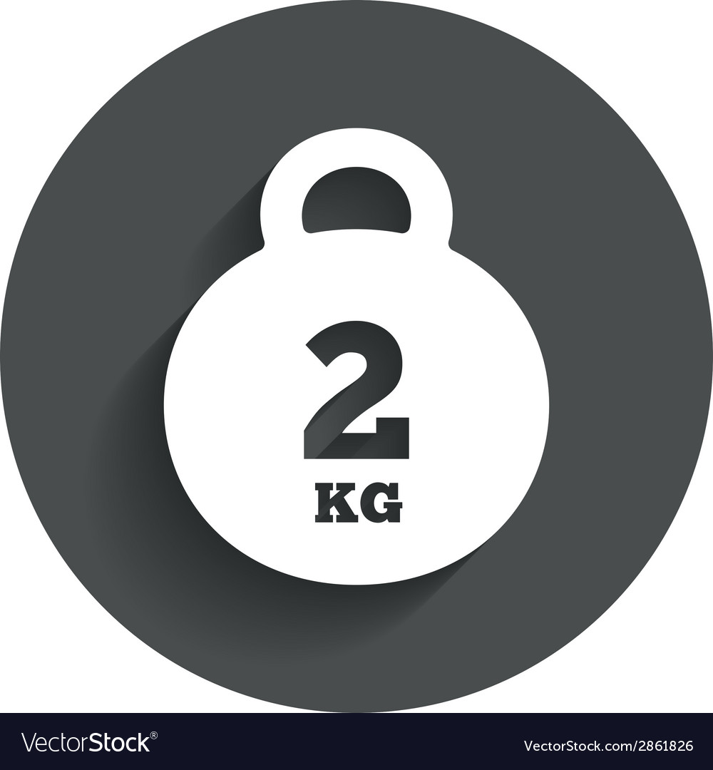 Weight sign icon 2 kilogram kg mail weight vector | Price: 1 Credit (USD $1)