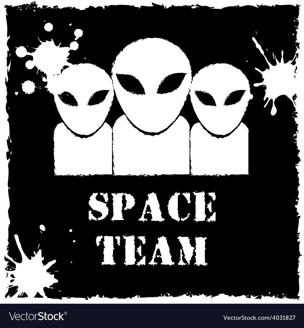 Alien space team logo on black background vector | Price: 1 Credit (USD $1)