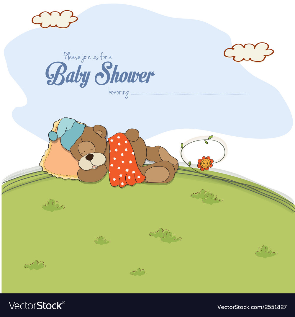 Baby shower card with teddy bear vector | Price: 1 Credit (USD $1)