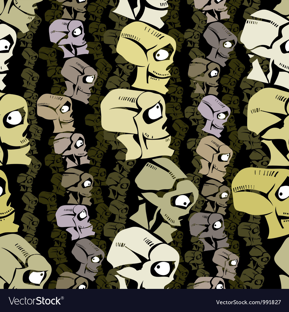 Cartoon skulls seamless background vector | Price: 1 Credit (USD $1)