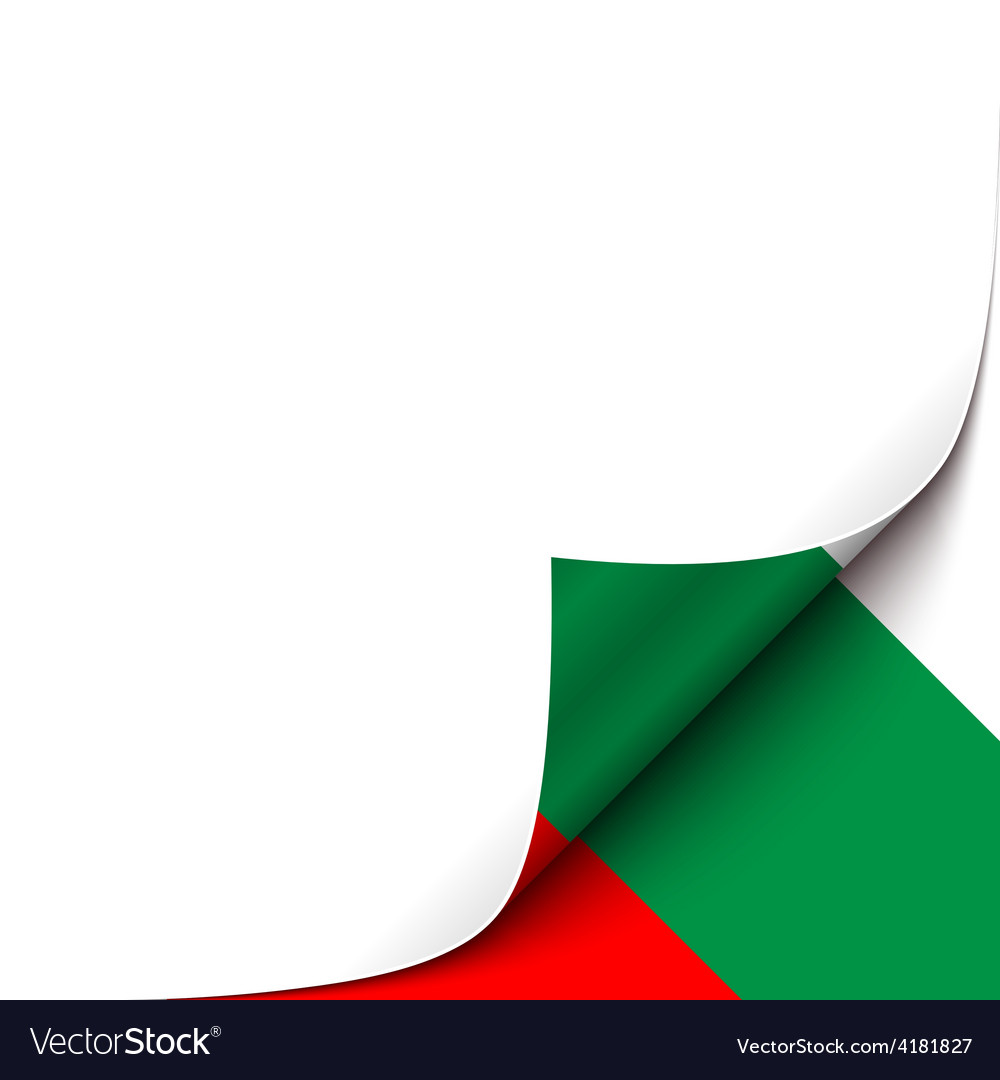 Curled up paper corner on bulgarian flag vector | Price: 1 Credit (USD $1)