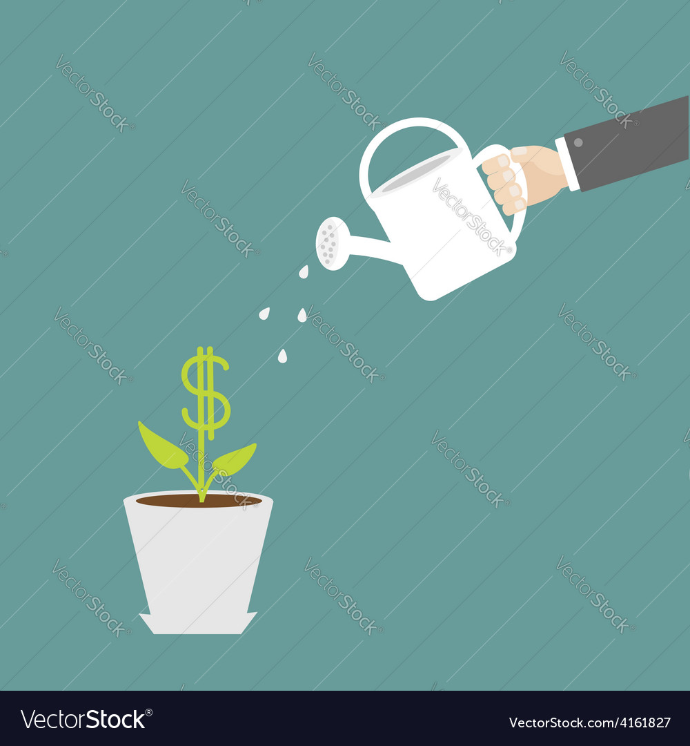 Hand watering can dollar plant in the pot vector | Price: 1 Credit (USD $1)
