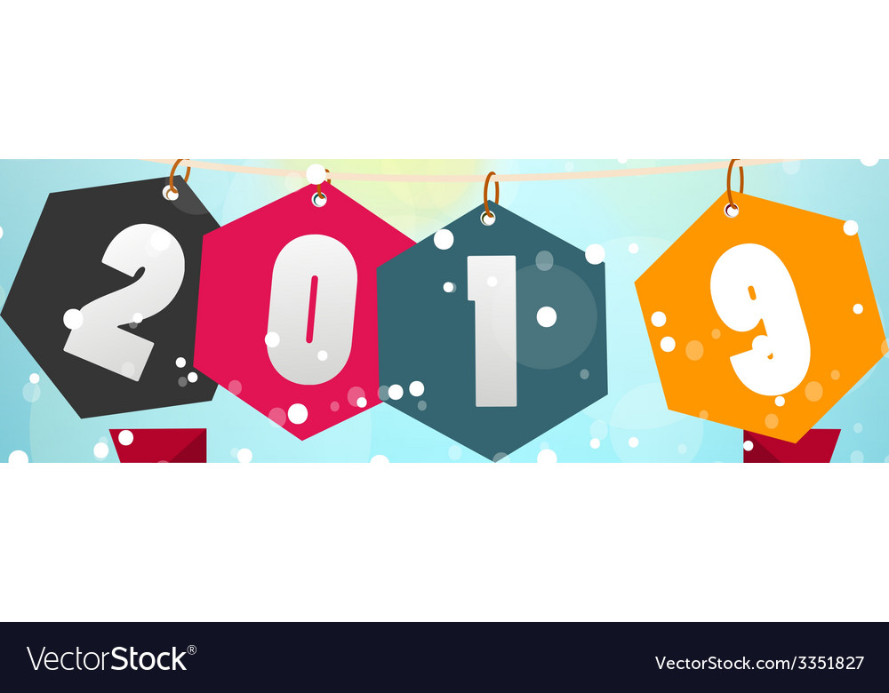Happy new year 2019 vector | Price: 1 Credit (USD $1)