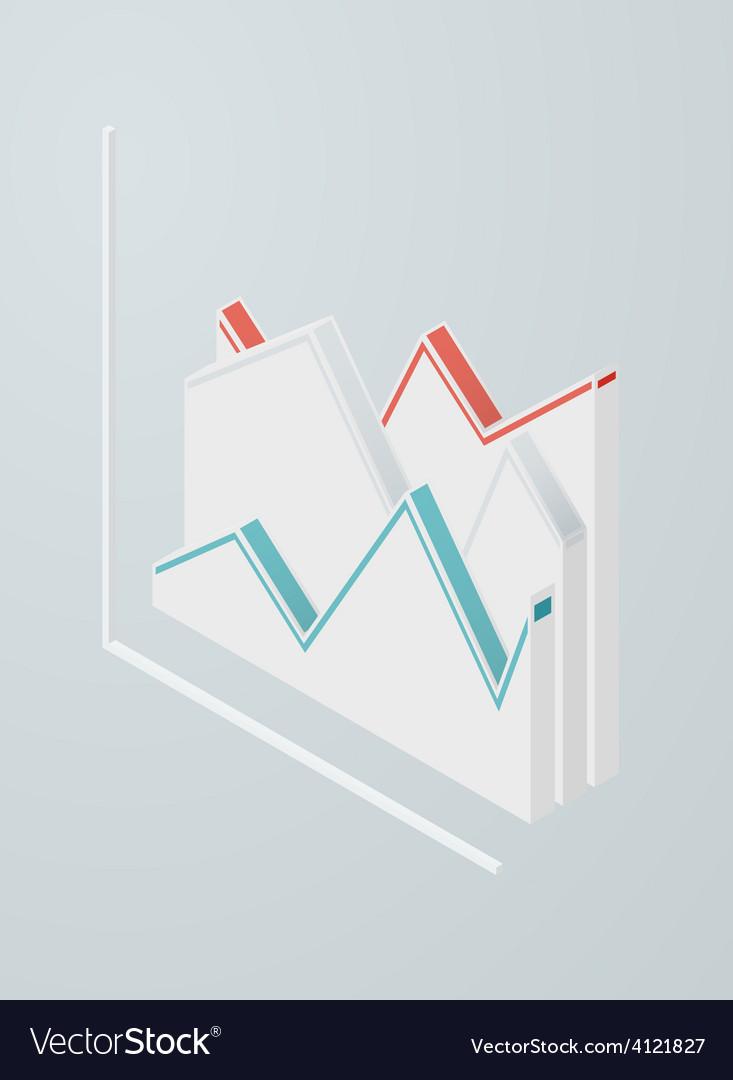 Isometric line chart icon vector | Price: 1 Credit (USD $1)
