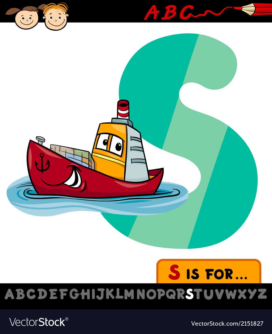 Letter s with ship cartoon vector | Price: 1 Credit (USD $1)