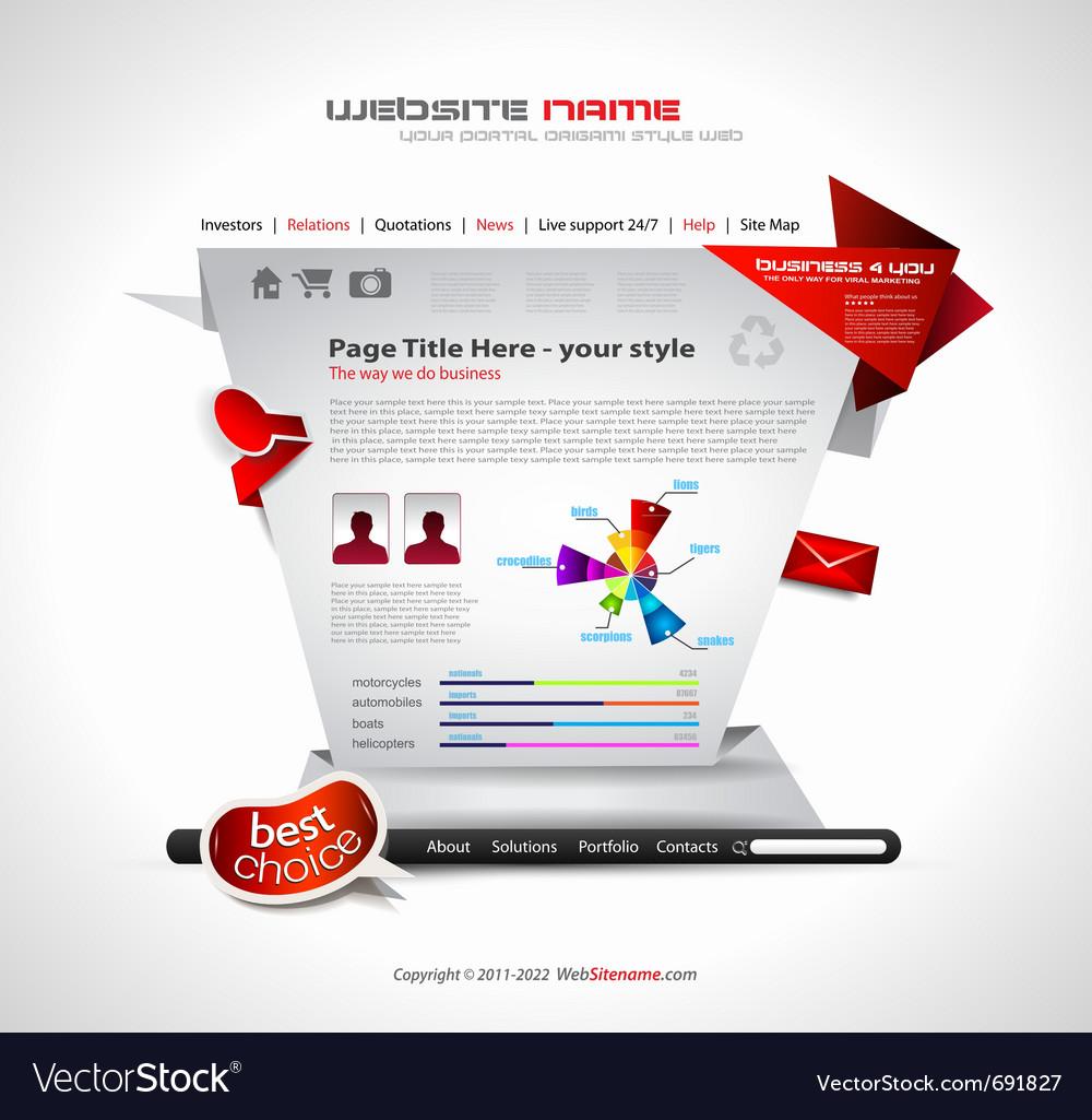 Origami website vector   Price: 3 Credit (USD $3)