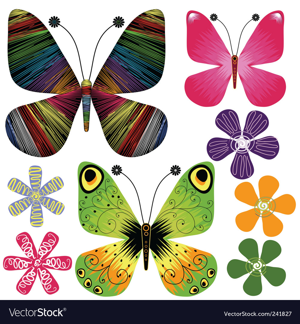 Set abstract butterflies and flowers vector | Price: 1 Credit (USD $1)