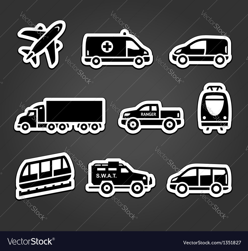 Set of stickers transport icons vector | Price: 1 Credit (USD $1)