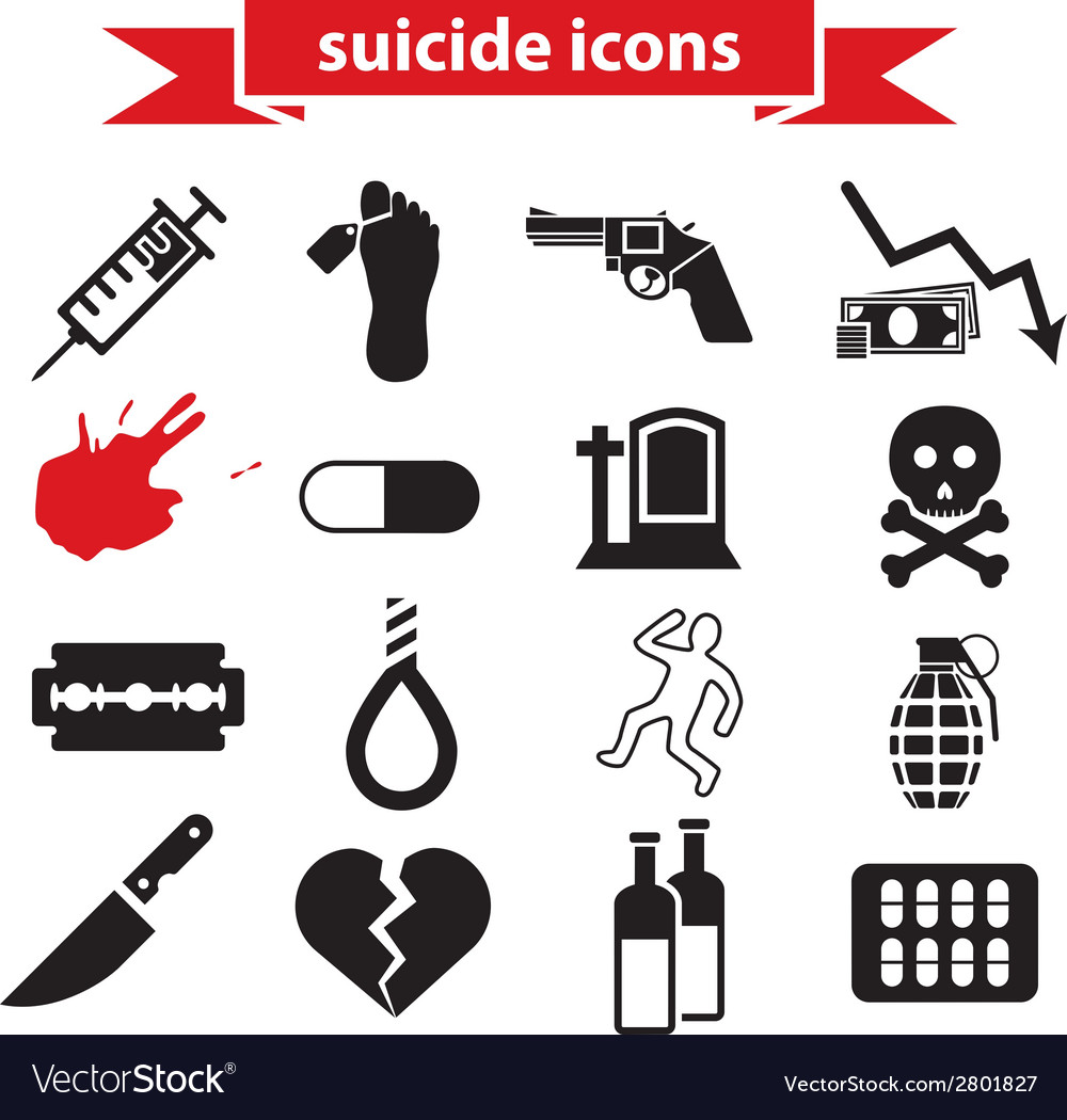 Suicide icons vector | Price: 1 Credit (USD $1)