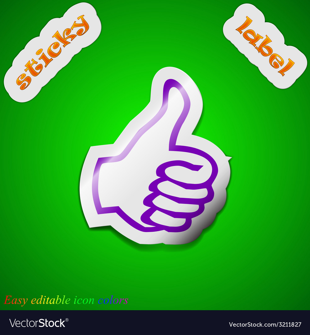 Thumb up like icon sign symbol chic colored sticky vector | Price: 1 Credit (USD $1)