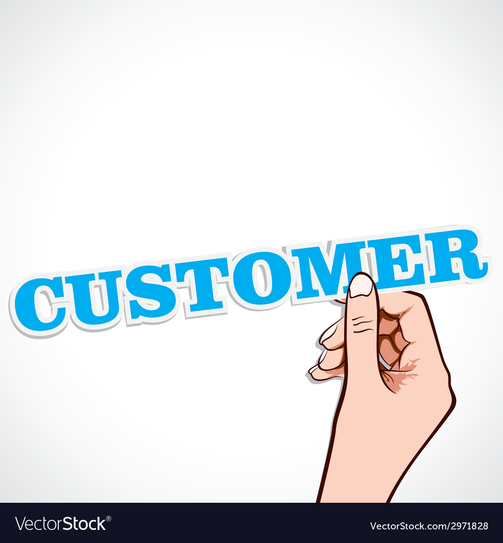 Customer word in hand vector | Price: 1 Credit (USD $1)