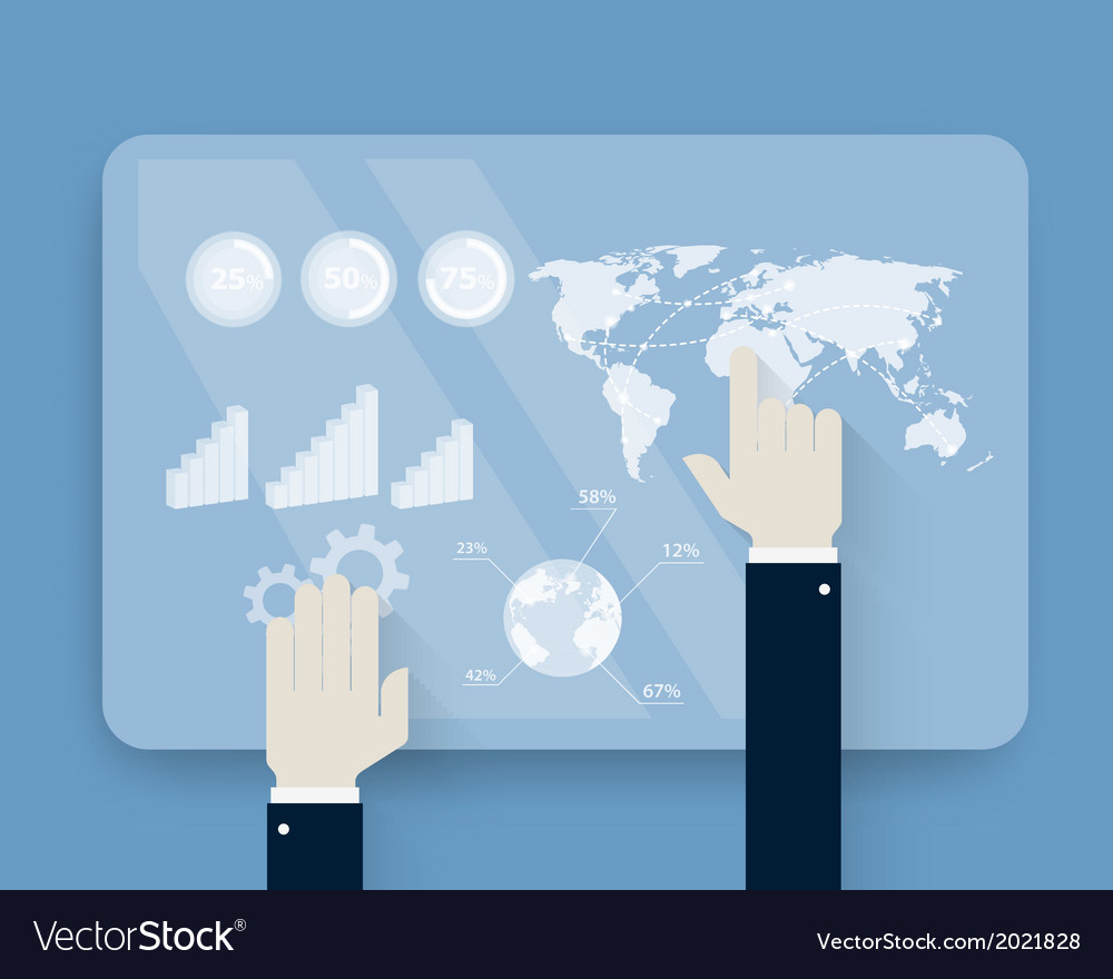 Hands pushing touch screen on futuristic interface vector | Price: 1 Credit (USD $1)