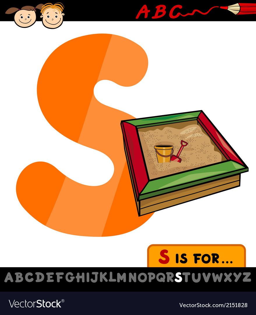 Letter s with sandbox cartoon vector | Price: 1 Credit (USD $1)