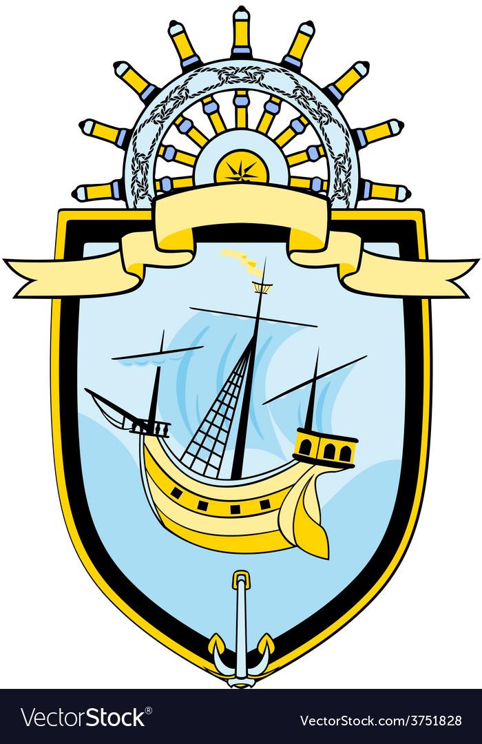 Marine emblem ship steering wheel vector | Price: 1 Credit (USD $1)