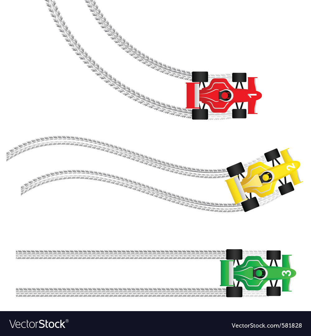 Race cars with various tyre treads vector | Price: 1 Credit (USD $1)