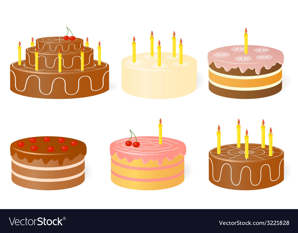 Set of birthday cake vector | Price: 1 Credit (USD $1)