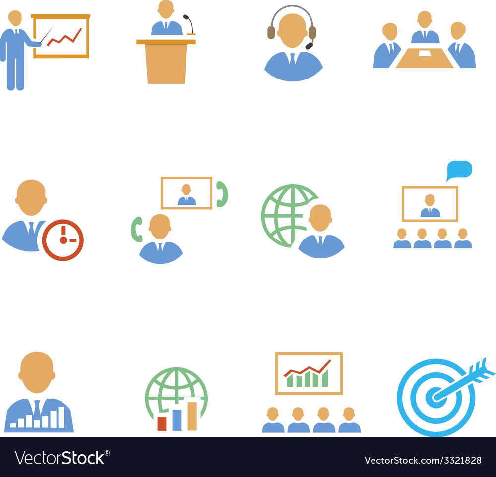 Set of colorful business people strategic icons vector | Price: 1 Credit (USD $1)