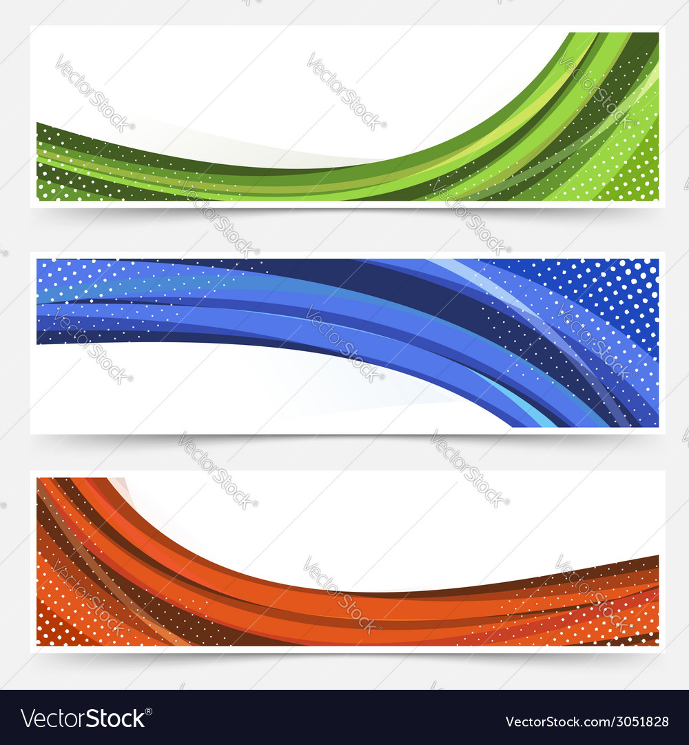 Wave line dotted web banners set vector | Price: 1 Credit (USD $1)
