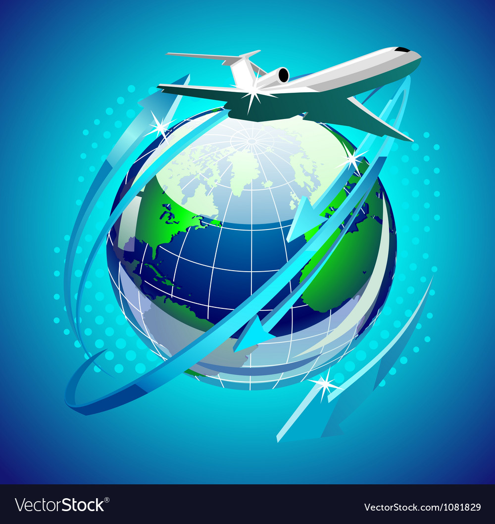 Airplain in front of the globe vector | Price: 3 Credit (USD $3)