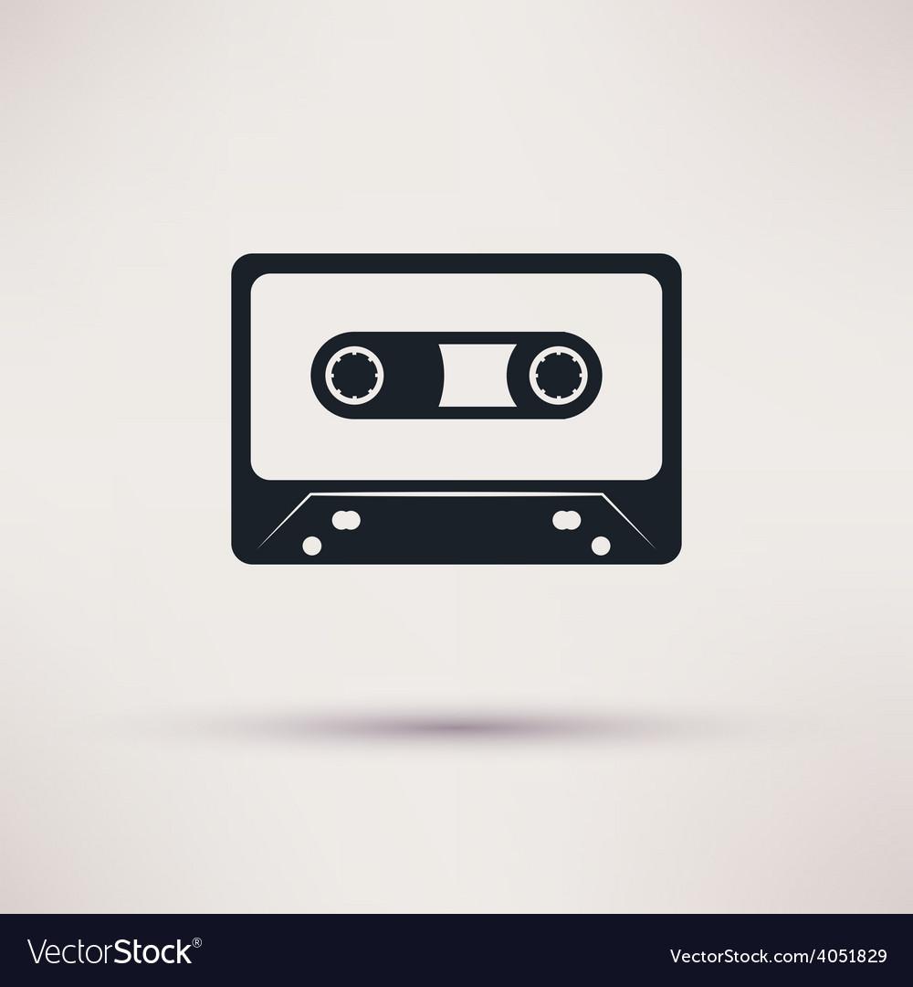 Audio cassette icon mono flat style vector | Price: 1 Credit (USD $1)