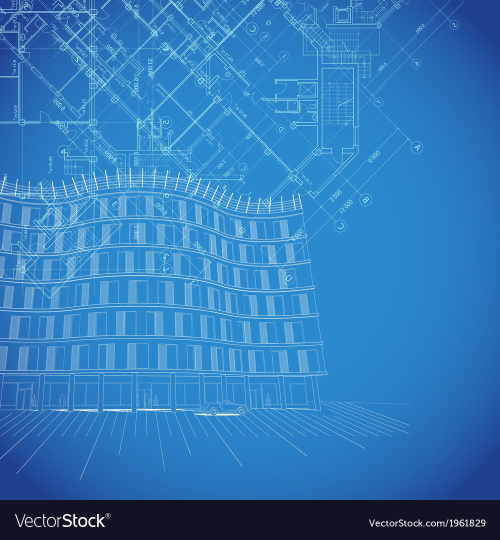 Blueprint background with building plans vector | Price: 1 Credit (USD $1)