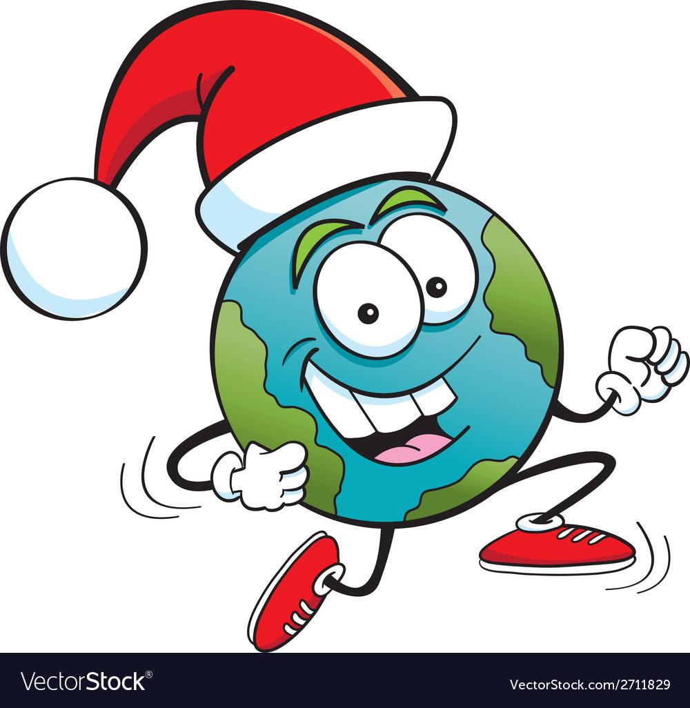 Cartoon santa globe vector   Price: 1 Credit (USD $1)