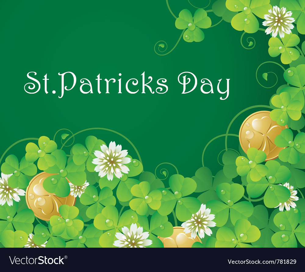 Clover glade and golden coins vector | Price: 1 Credit (USD $1)