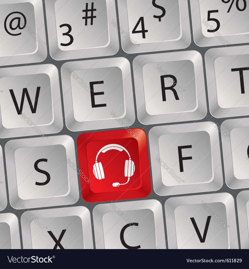 Computer keyboard headphone key vector | Price: 1 Credit (USD $1)