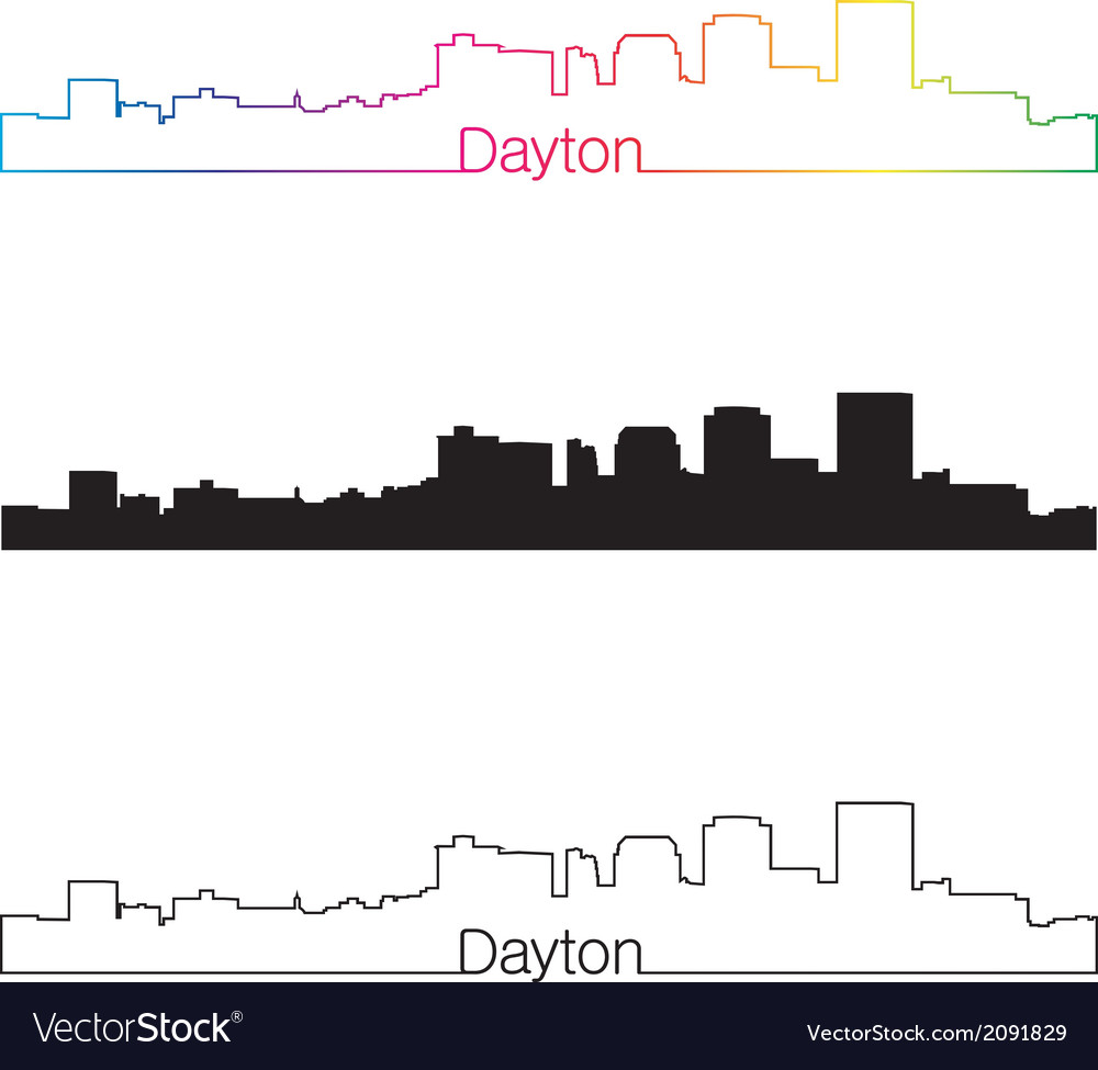 Dayton skyline linear style with rainbow vector | Price: 1 Credit (USD $1)